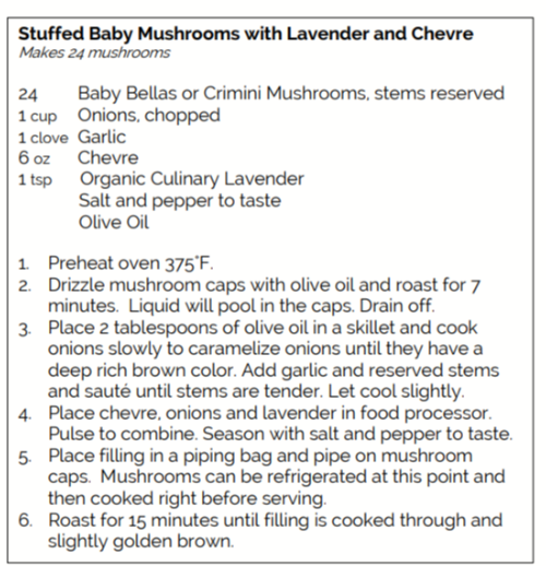 Recipe for Stuffed Baby Mushrooms with Lavender and Chevre