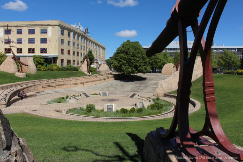 Shallow amphitheatre known as the Oodena Celebration Circle at The Forks pays homage to the 6,000 years of Aboriginal peoples in the area