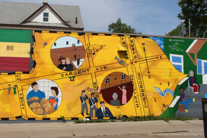 Mural in Winnipeg West End shows map of several main streets and images of historical events