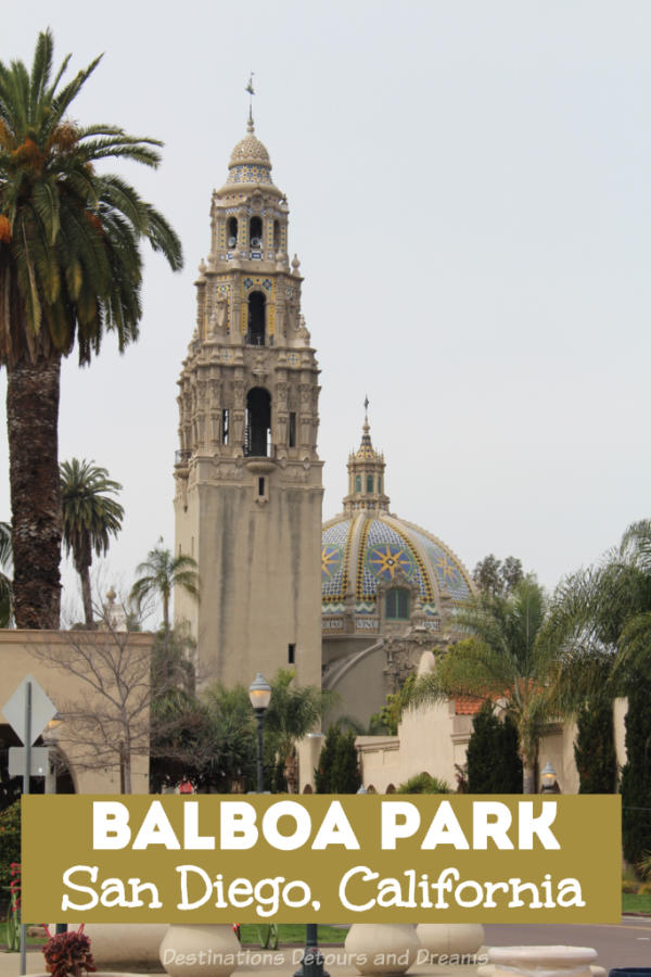 Balboa Park, a top attraction in San Diego, California, contains museums, art, architecturally interesting buildings, walking paths and gardens