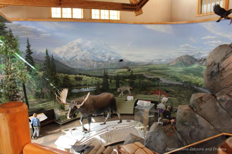 Diorama of wildlife inside Denali Visitor Center