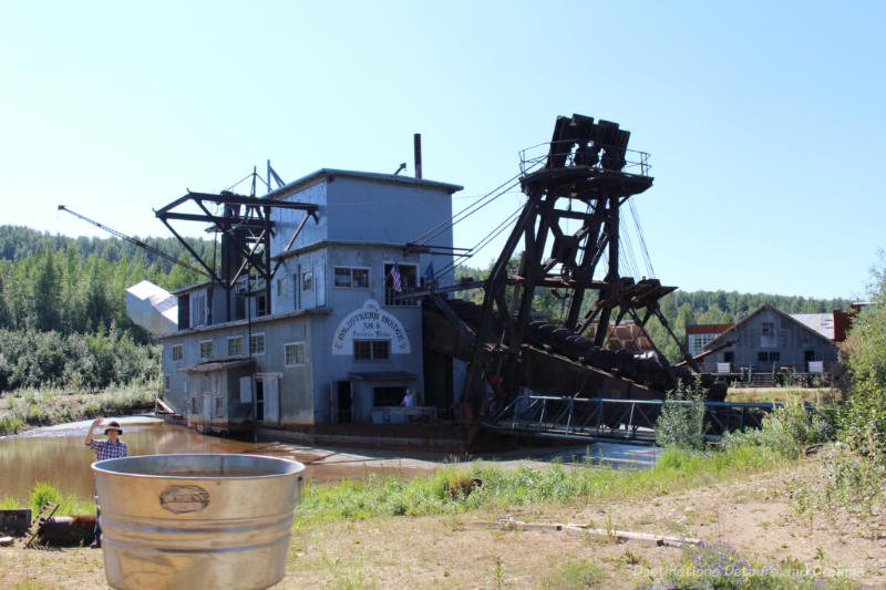 Gold dredge once used to mechanically pan gold in Alaska