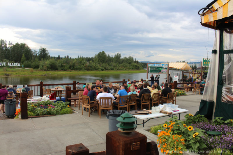 Restaurant patio dining along the river in Fairbanks, Alaska