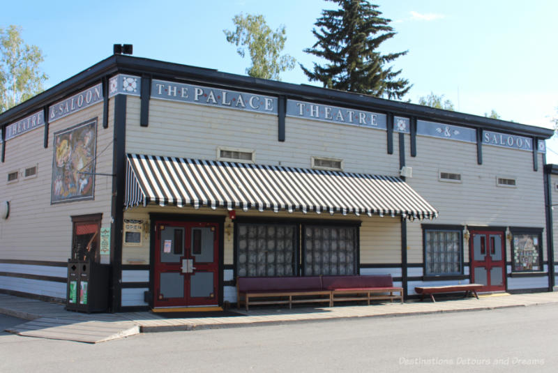 Old theatre and saloon building located in a recreated gold rush town in Fairbanks, Alaska
