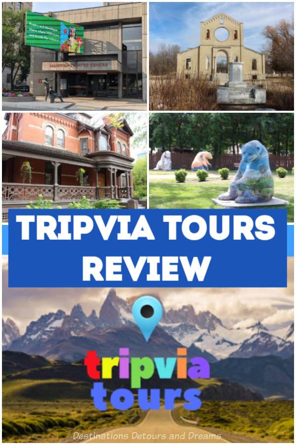 A review of Tripvia GPS-guided audio tours. Walking and driving tours in  British Columbia, Alberta, Saskatchewan, Manitoba, and Alberta, the Yukon Territory, California, and Colorado.