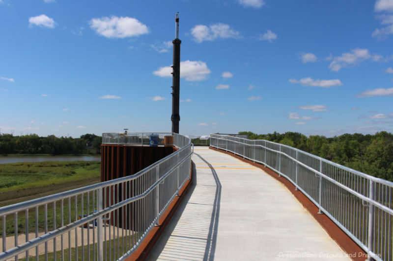 Ramp leading to viewing platform with a 40-foot piston at its centre
