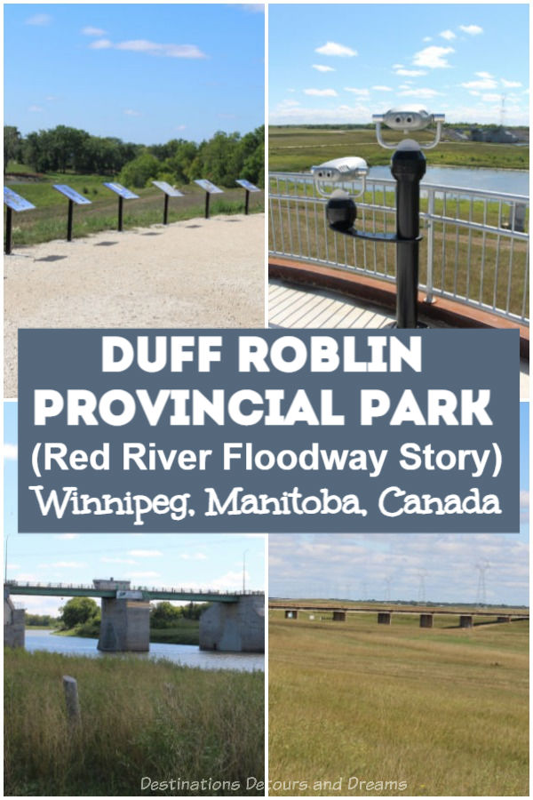 Duff Roblin Provincial Park in Winnipeg, Manitoba, Canada tells the story of the Red River Floodway and the premier who spearheaded it. The Floodway is an impressive engineering feat that has been designated a National Historic Site of Canada