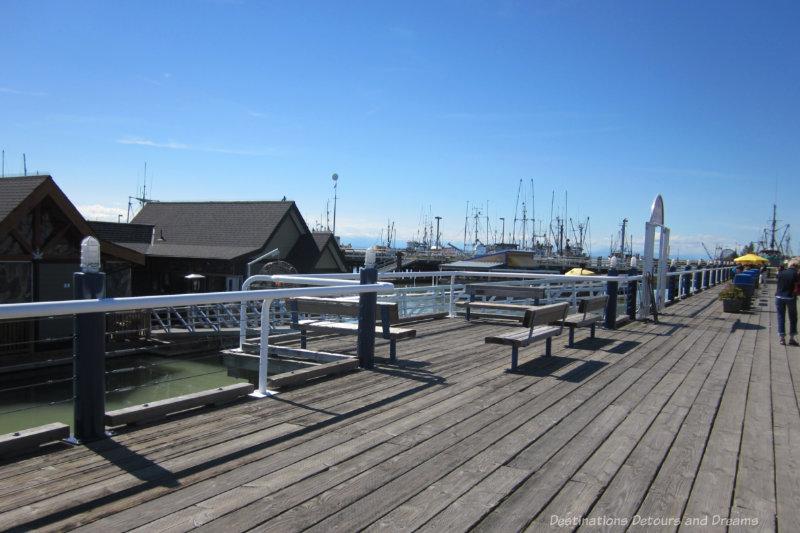 Wide waterfront boardwalk at Steveston, British Columbia