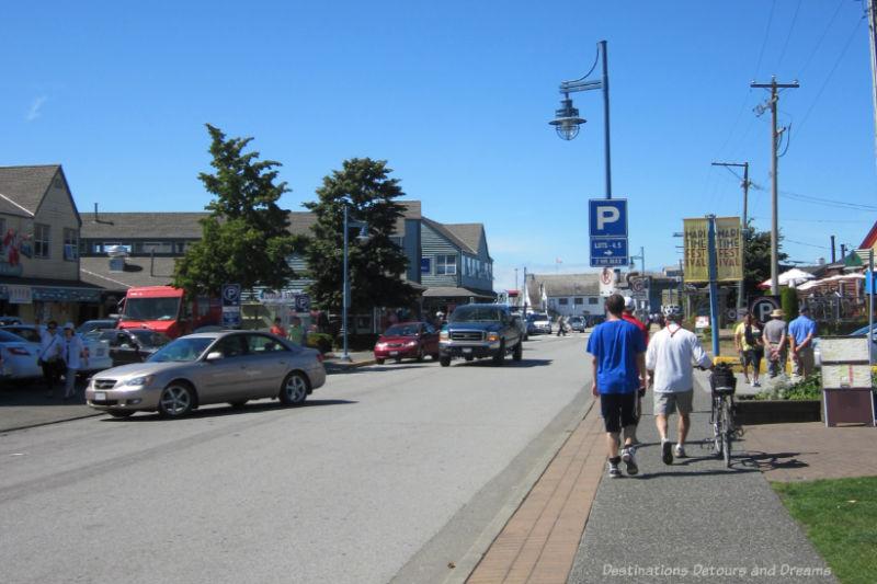 Shops lining village street in Steveston, British Columbia