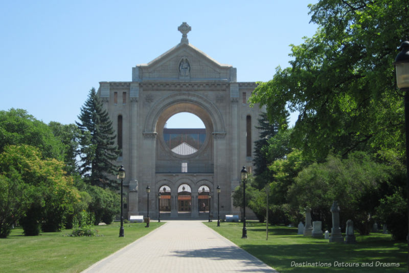 Stone facade of St Boniface Cathedral, built in the early 1900s