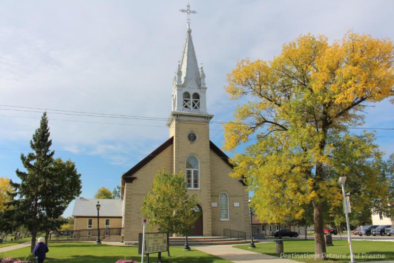 Brick church with metal steeple