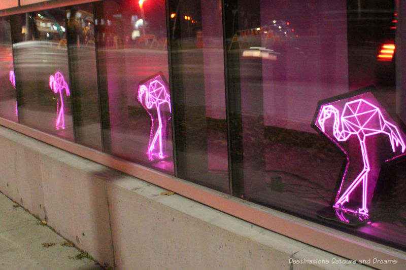 Pink lit up flamingos as part of a contemporary art display inside a window