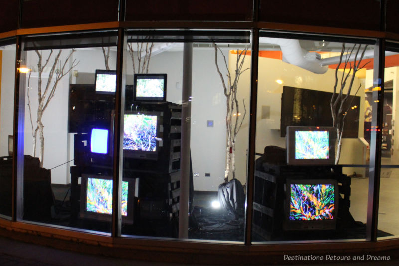 Collections of screens inside a display window showing still and videos of the Manitoba landscapes