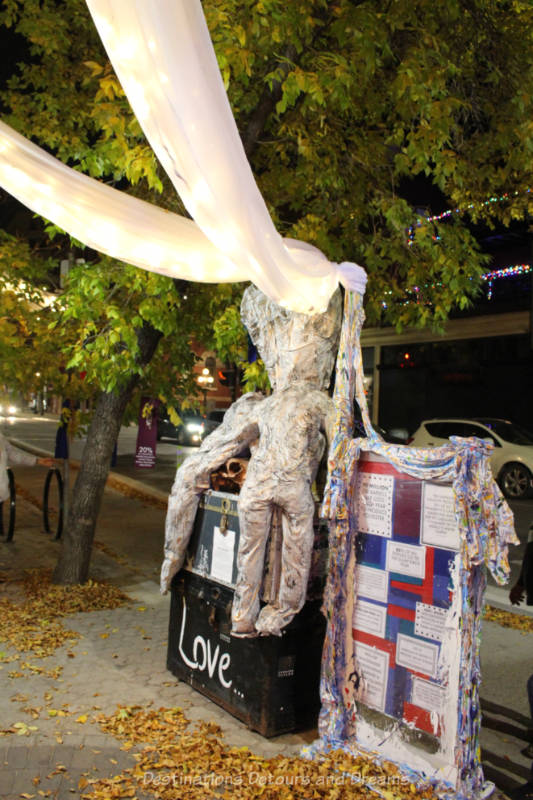 Art piece featuring textile waste reshaped into a body